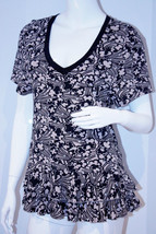 JUICY COUTURE Ruffled V-Neck SHIRT Top FLORAL Tunic SILVER Glitter Black... - $83.65