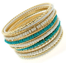 Cable Cabo Twisted Gold Tone Seed Bead Turquoise White Bangle Bracelet S... - $10.11