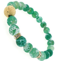 Ladies Womens Crystals Gold Tone Green Stone Glass Beaded Stretch Bracel... - $13.46