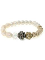 Ladies Womens Crystals Gold Tone Hematite Pearls Beaded Stretch Bracelet... - $17.51
