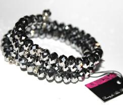 Womens Ladies Adjustable Silver Hematite Crystal Beaded Layered Coil Bra... - $11.97