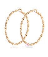 """Textured Classic Womens 2"""" Round Twisted Swirl Gold Plated Ladies Hoop E... - $12.00"""