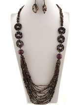 Long Necklace Set Purple Black Seed Bead Layered Fall Multi Strand Natural - $9.97
