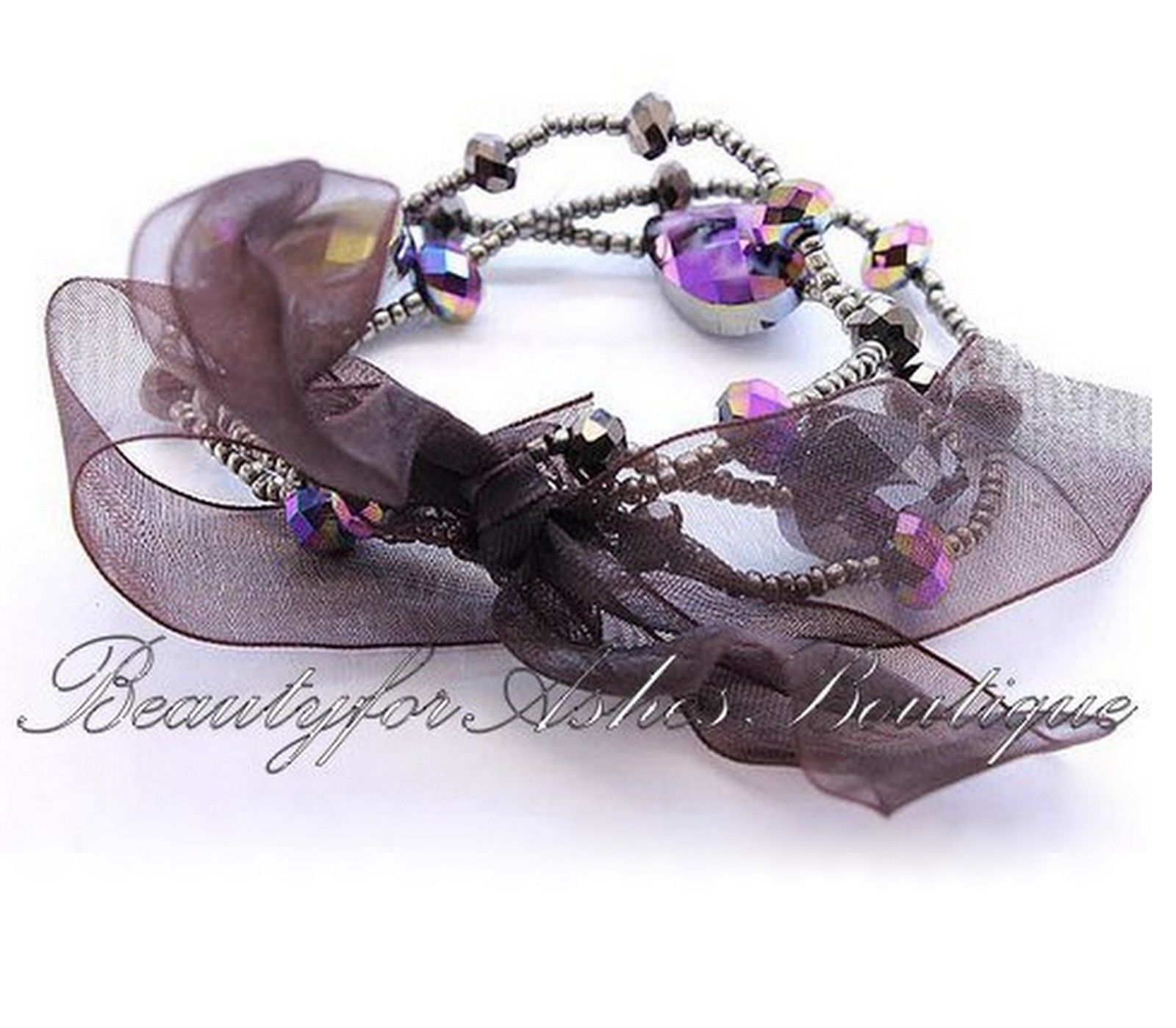 Womens Girls Cute Multi Color Bead Purple Crystal Bow Stretch Bracelet Bow-tique