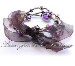 Womens Girls Cute Multi Color Bead Purple Crystal Bow Stretch Bracelet B... - $8.06