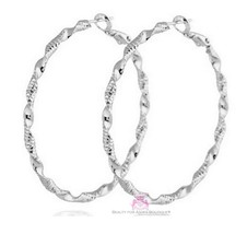 "Textured Classic Glam 2"" Womens Spiral Silver Twisted Swirl Round Hoop E... - $12.00"