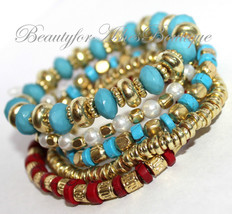 Rustic Bead Stretch Pearl Turquoise Red Gold Multi Layered Beaded Bracel... - $9.97