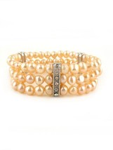 Clear Crystals Silvertone Pink Fresh Water Pearls Beaded Stretch Bracele... - $24.26