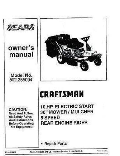 Primary image for Craftsman  Lawn Tractor Operators Manual 502.255094