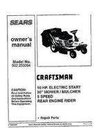 Craftsman  Lawn Tractor Operators Manual 502.255094 - $10.99