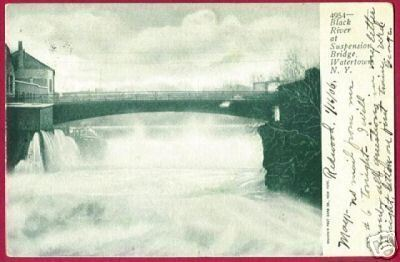 WATERTOWN NEW YORK Black River Bridge UDB 1906