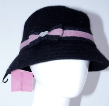 BETSEY JOHNSON Cloche BLACK Winter HAT Black Pink Trim BOW Wool Blend FR... - $99.24 CAD