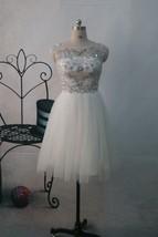 Handmade Custom Made Scoop V-back Beaded Short Ivory Tulle Prom Dress 2015 - $148.00