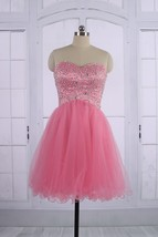 Sexy Ball Gown Short Sweetheart Beaded Pink Tulle Prom Homecoming Formal... - $114.00