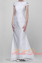 Long Mermaid Cap Sleeve Bateau Backless Ivory Lace Wedding Dress with Bow 2017 - $148.50
