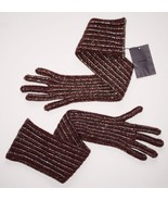 PRADA ITALY Long GLITTER Metallic BURGUNDY Wool... - $299.97