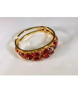 Vintage Style Clamper Bracelet ~ Ruby Colored Stones - $631,82 MXN