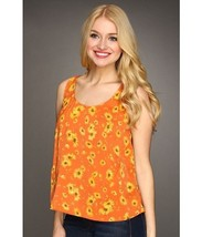 DOLCE VITA DV Orange FLORAL Top RAVA Daisy PRINT Open Back OVERLAP S - $79.97