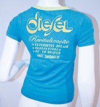 DIESEL Blue Yellow FITTED Tee Shirt TOP Futuris... - $49.97