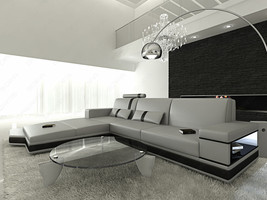 Design L-Shaped Sofa MESSANA with Lights grey black - $2,779.00+