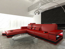 Design L-Shaped Sofa MESSANA with Lights red black - $2,779.00+