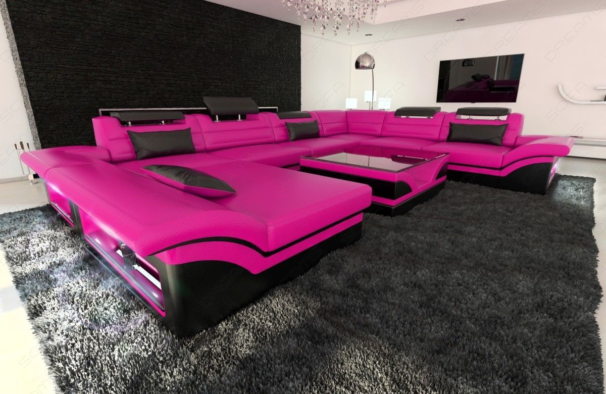 Leather Sectional Sofa ENZO XXL Pink Black And 50 Similar Items