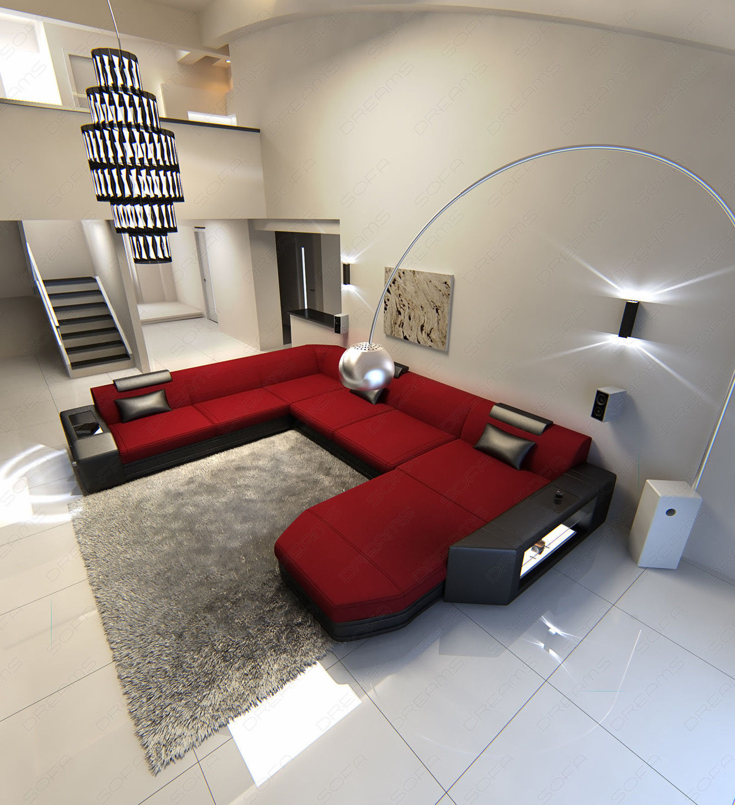 fabric sectional sofa prato xxl design sofa with led lighting rgb sofas loveseats chaises. Black Bedroom Furniture Sets. Home Design Ideas