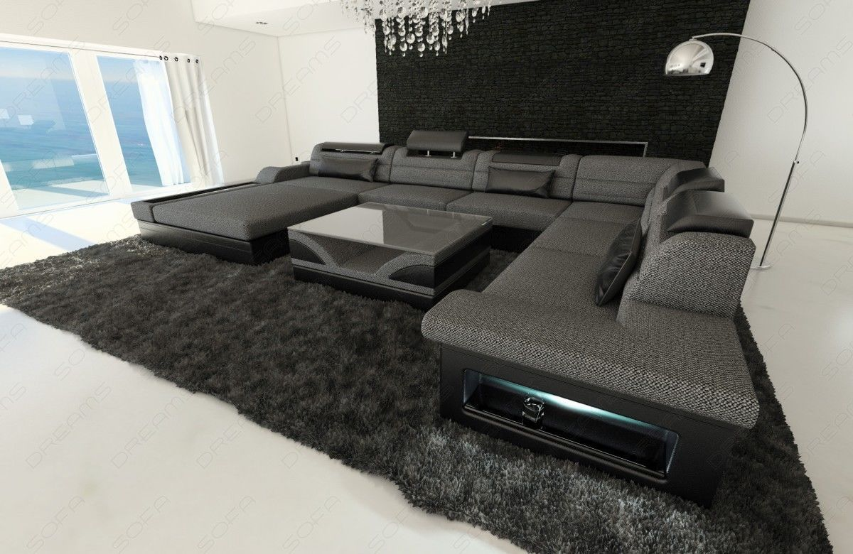 upholstery fabric sofa mezzo xxl with led lights. Black Bedroom Furniture Sets. Home Design Ideas