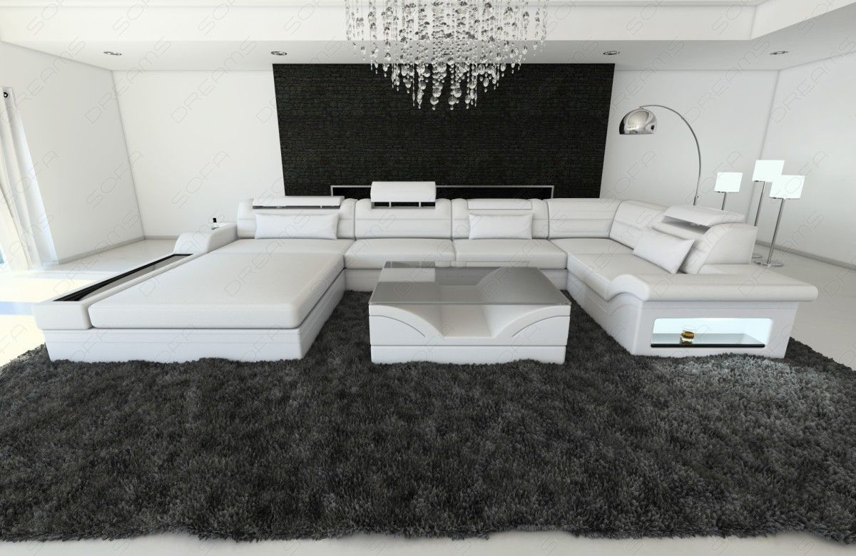 Modern sectional fabric sofa mezzo u shaped with led for Sectional sofa with led lights