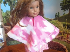 "homemade 18"" american girl/madame alexander pink camo poncho doll clothes - $15.84"