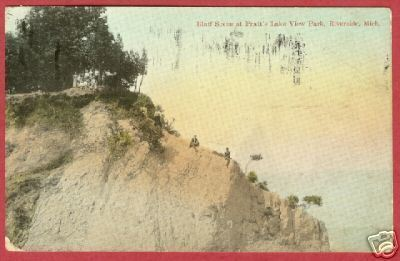 Riverside MI Pratt's Lake View Bluff Men Postcard BJs