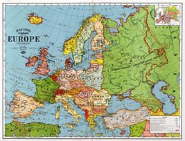 1920 Bacon's Standard Wall Map of Europe Art Poster Print Decor Vintage History - $13.00+