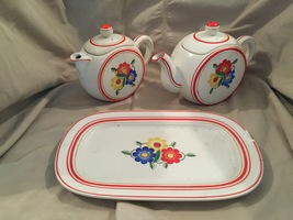 White ceramic tea set with serving tray. - $40.00
