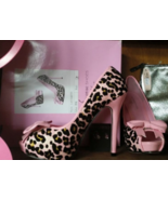 Leg Avenue Shoes Ellie Kitty Pink Patent Leopard Animal Gold Peep Toe Heels Sz 7 - $99.99