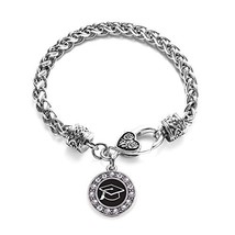 Inspired Silver Graduation Circle Charm Braided Bracelet Silver Plated w... - $9.80