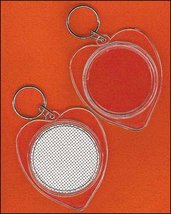 Heart Shaped Clear Acrylic Keychain with vinyl weave 2 1/4 inch Yarn Tree - $4.50
