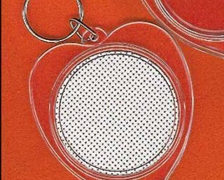 Heart Shaped Clear Acrylic Keychain with vinyl weave 2 1/4 inch Yarn Tree