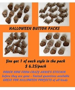 HALLOWEEN WOODEN BUTTON BUNDLE 4pcs cross stitch sewing  - $4.25