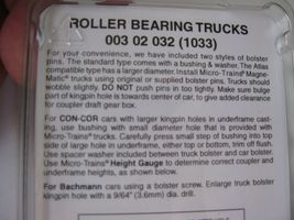Micro-Trains Stock #00302032 Roller Bearing Trucks w/Medium Extension (1033) (N) image 3