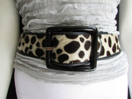 "Women Brown Leopard Pony Hair Fashion Belt Big Black Square Buckle 26""-28"" S - $48.99"