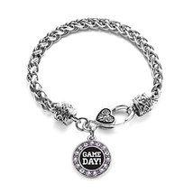 Inspired Silver Game Day Circle Charm Braided Bracelet Silver Plated wit... - $9.80