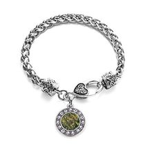 Inspired Silver Green Hunting Pattern Circle Charm Braided Bracelet Silv... - $9.80