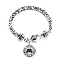 Inspired Silver Gamer Girl Circle Charm Bracelet Silver Plated with Crys... - $9.80