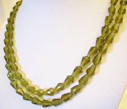 Green Bicone Glass Beads Choker Necklace Vintage 2 Strand Rare Style Estate - $34.64