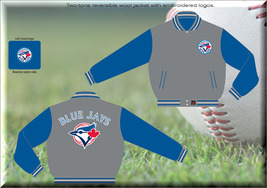 JH Design MLB Toronto Blue Jays Two Tone Wool Reversible Jacket  - $109.95
