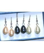 Pearl Teardrop Dangle Earrings, White, Cream or Peacock, 925 Silver, 6mm... - $0.00