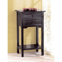 Black End Table 2 Drawer Storage Modern Living Room Tables Furniture Woo... - $66.83