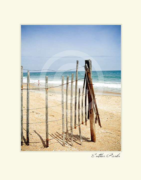 'A Vacation View' (old fence / beach) Fine Art Print - 8x10 print matted to11x14