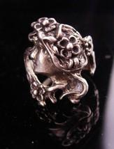 Vintage Art nouveau ring / silver Mucha head / sterling Goddess ring / Bohemian  - $195.00