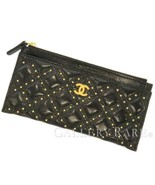 CHANEL Flat Pouch Leather Black Classic Studs Cosmetic CC Logo Italy Aut... - $1,007.35